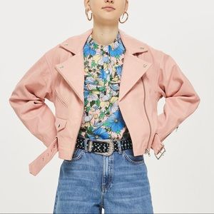 Topshop Pink Leather Biker Jacket
